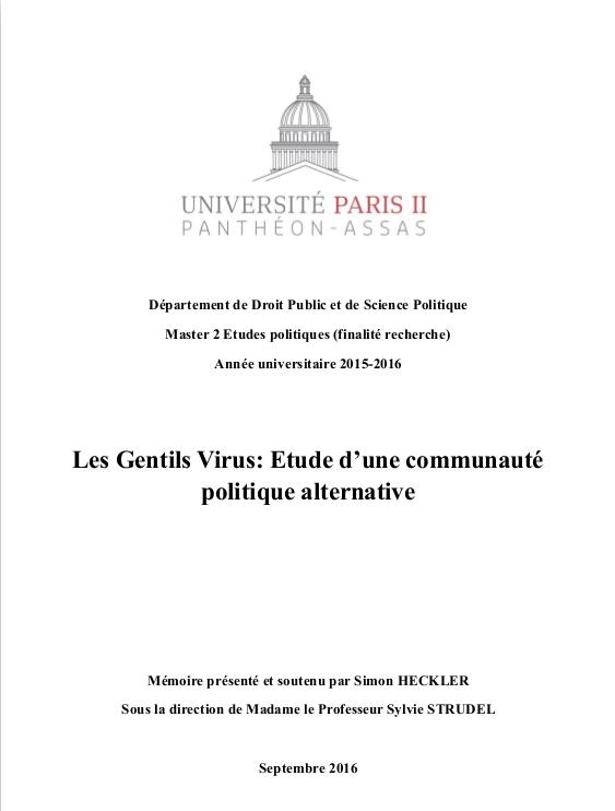 Les Gentils Virus: Étude d'une communauté politique alternative, par Simon HECKLER